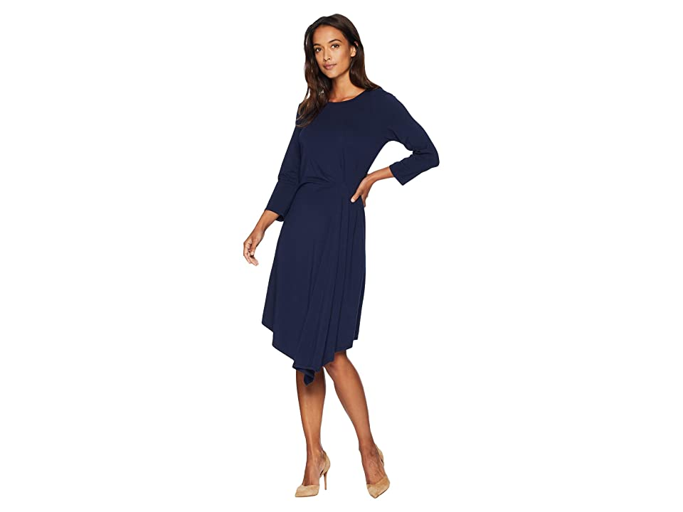 Mod-o-doc Cotton Modal Spandex Jersey 3/4 Sleeve Side Tuck Dress (True Navy) Women