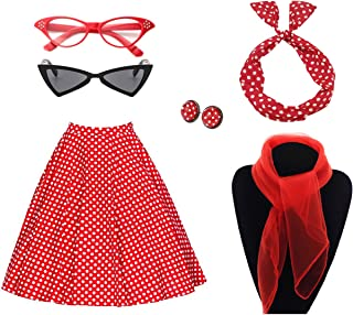 Charm.L Grace Costume Women`s 50`s Costume Accessories Set Vintage Dot Skirt Scarf Headband Earrings Cat Eye Glasses