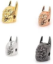 SouthBeat Batman Superhero Bead Gold Black Gun Rose Gold Antique Silver Charm Beads Fit Men Bracelet Making Jewelry Findings DIY Beads (10Pcs, MixColor)