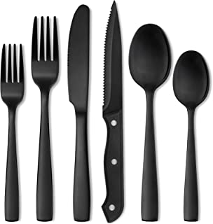 Hiware 24 Pieces Matte Black Silverware Set with Steak Knives for 4, Stainless Steel Flatware Cutlery Set, Hand Wash Recom...