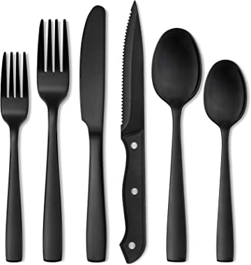 Hiware 24 Pieces Matte Black Silverware Set with Steak Knives for 4, Stainless Steel Flatware Cutlery Set, Hand Wash Recommen