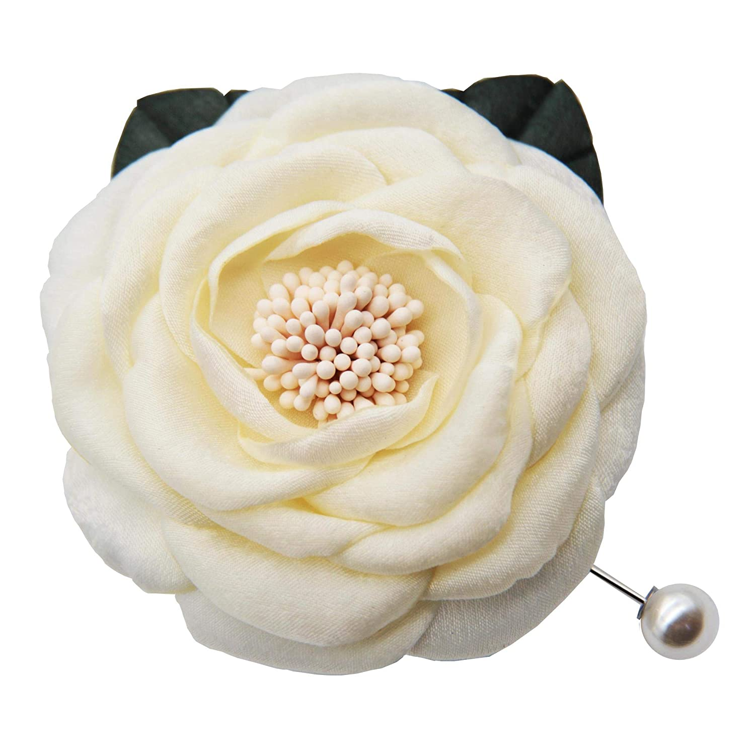 Fabric Camellia Brooch Pins By unisex Inexpensive NhanDo Handmade Off-white –