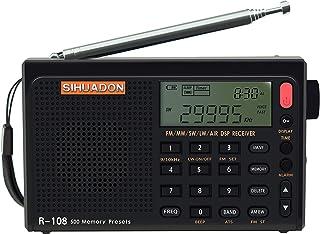 Radio portátil SIHUADON R108 AM FM SW LW banda de aire de banda completa DSP Radio estéreo funciona con pilas con conector de antena para auriculares, tiempo de sueño y reloj despertador, 500 memorias, buen regalo para padres por RADIWOW