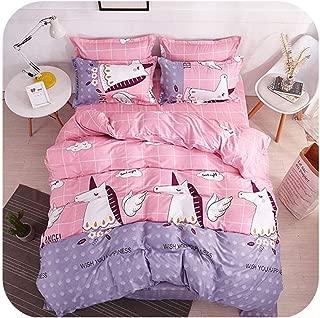 MUZIBLUE Home Bedding Set New Pink&Grey Leaf Bed Linen 3 or 4pc/Set Duvet Cover Set Blue Bird Bed Set Stripe Bedclothes Flower Bed Sheets,Horse Fly,Super King,Flat Sheet