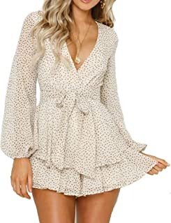 Relipop Women's Polka Dot Jumpsuits Deep V-Neck Long Sleeve Knot Front Ruffle Hem Floral Rompers