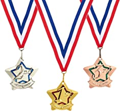 Juvale 3-Piece Award Medals Set - Gold, Silver, Bronze Medals, Olympic Style Metal Award Medals for Sports, Competitions, Games, Party Favors, 2.3-Inch Diameter with 32-Inch Ribbon
