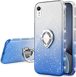 VEGO Case Compatible with iPhone XR, Glitter Case for Girls Women Fancy Cute Fashion Sparkling Bling Rhinestone with Kickstand Ring Holder for iPhone XR 6.1 inches (Ombre Blue)