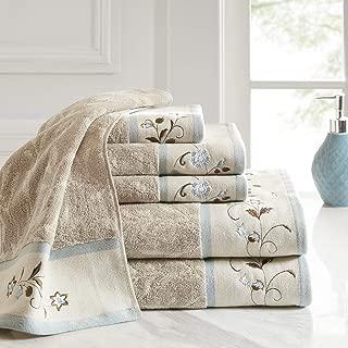 Madison Park Serene Floral Embroidered 100% Cotton Jacquard Ultra Soft Absorbent Bathroom Towel Set Shower Hand Face Washcloths, See Below, Blue