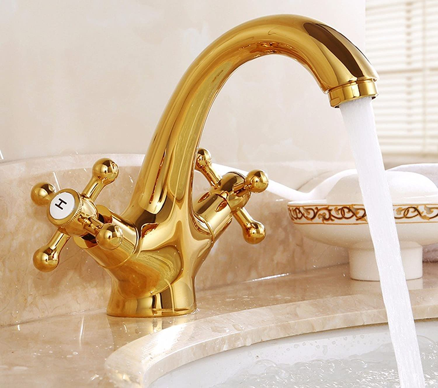 Hlluya Professional Sink Mixer Tap Kitchen Faucet Copper, hot and cold double, single hole, a vanity area with sink mixer 2