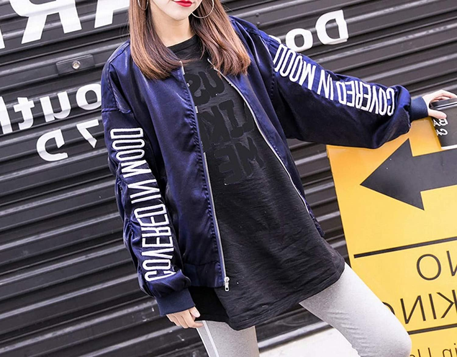 Spring and Autumn Embroidered Baseball Jacket Fashion Student Loose Street Trend BF Wind Jacket Tops Women,bluee,S DEED