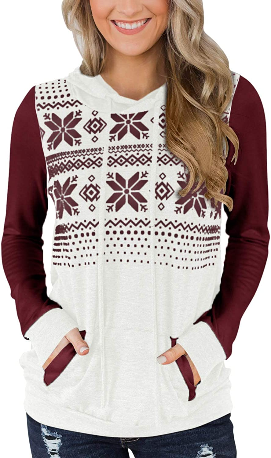 For G and PL Women's Christmas Snowflakes Long Sleeve Color Block Hoodies