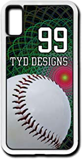 iPhone Xs Baseball Case Fits iPhone Xs or iPhone X Custom Made Design Cell Phone Case with Any Jersey Number Team Name in White Rubber B1099 by TYD Designs