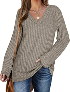 Sweaters for Women Long Sleeve V Neck Solid Color Fashion Tops