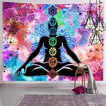 Simpkeely Colorful Chakra Tapestry Yoga Meditation Studio Room Decorations Indian Psychedelic Art Print Mural for Bedroom Living Room Dorm Home D/écor 59 x 51 Meditating Peace Wall Art Hanging Tapestries