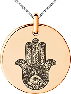 Tioneer Stainless Steel Lotus Hamsa Hand of Fatima Symbol Small Medallion Circle Charm Pendant Necklace