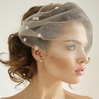 649262214a817 Auch Elegant Flower Crystal Birdcage Veil for Bride