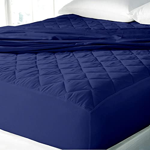 THE HOME STYLE Double Bed King Size Dust Proof and Waterproof Microfiber Cotton Mattress Protector 72 x78 King Size Navy Blue
