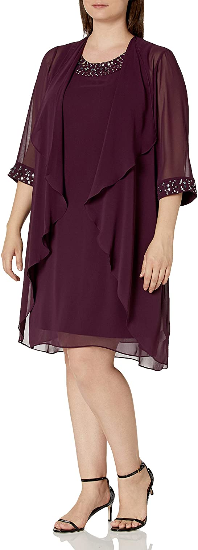 S.L. Fashions Women's Plus Max 82% OFF Size Chiffon Jacket with Tier 1 year warranty B Dress