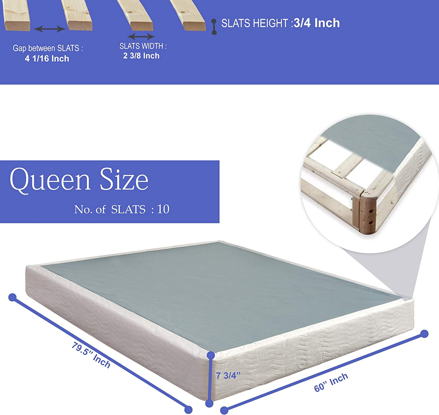 Beige Twin Nutan 8-Inch Easy Wood Box Spring With Simple Assembly