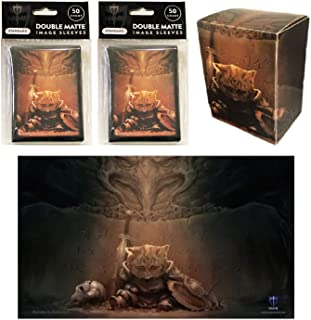 End of Things Cat Design Playmat + Deck Box + 100 Matching Double Matte Sleeves (fits Magic / MTG Cards / Pokemon Cards)