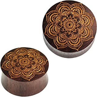 Chic-Net - Dilatatore a Forma di Mandala, con Fiore in Legno di Sono, Colore: Marrone Scuro/Oro, Unisex, per Orecchio e Or...