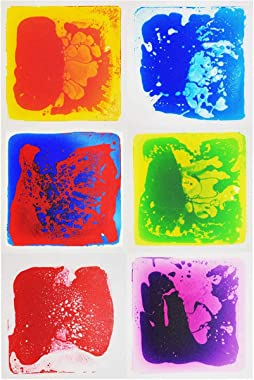 LONGKING Six (6) Assorted Color 12 Inch X 12 Inch Liquid Floor Tile - Yellow and Orange, Yellow and Green, Red and Blue, Purp