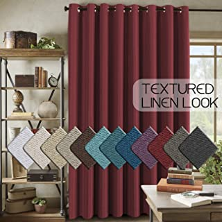 H.VERSAILTEX Patio Door Linen Curtain for Sliding Door (W100 x L96) - Extra Long and Wide Room Darkening Textured Rich Linen Drapes for Glass Door(Burgundy, 8ft Tall by 8.5ft Wide)