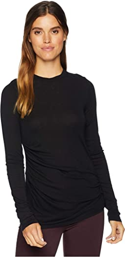 1X1 Slub Long Sleeve Side Gather Top