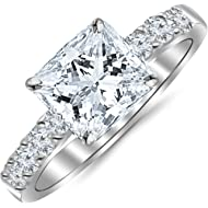 1.10 Carat Princess Cut/Shape... 1.10 Carat Princess Cut/Shape 14K White Gold Classic Prong Set Diamond Engagement Ring with a...