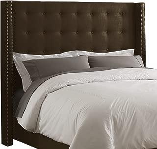 Skyline Furniture Linen King Nail Button Wingback Headboard, Chocolate
