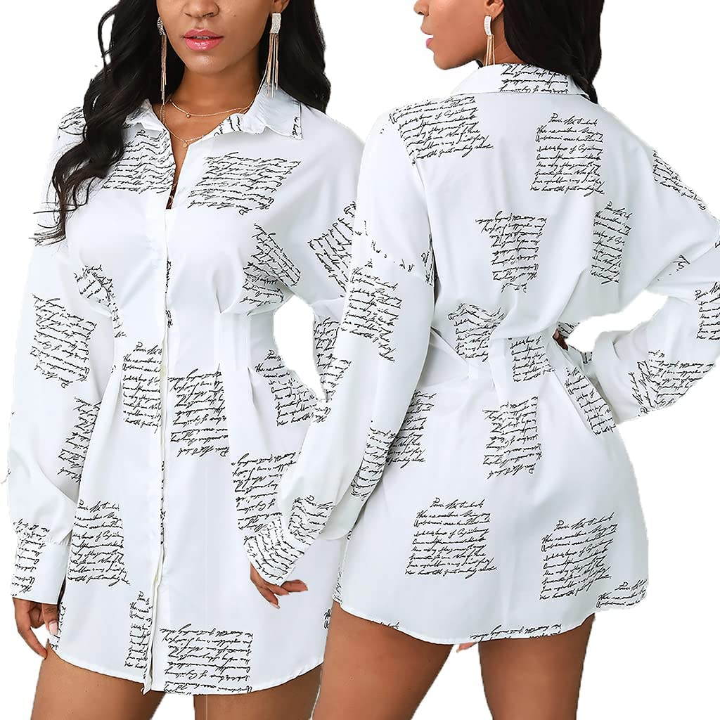 Button Down Colorful Dress Shirts for Women Fashion Blouses Long Sleeve Floral Print Tops Loose Collar Sexy T-Shirts