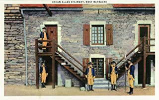 Fort Ticonderoga, New York - West Barracks, Ethan Allen Stairway Scene (16x24 Fine Art Giclee Gallery Print, Home Wall Decor Artwork Poster)