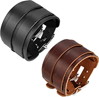 JewelryWe 2PCS Men's Leather Bangle Cuff Bracelet Strap Wristband with Buckle Fastening Brown Black (with Gift Bag)