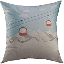 Mugod Decorative Throw Pillow Cover for Couch Sofa,Blue Cable Red Ski Lift Gondolas Moving in Snow Mountains Car Home Decor Pillow case 18x18 Inch