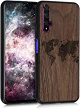kwmobile Wooden Case Compatible with Huawei Nova 5T - TPU Bumper - Travel Outline Dark Brown