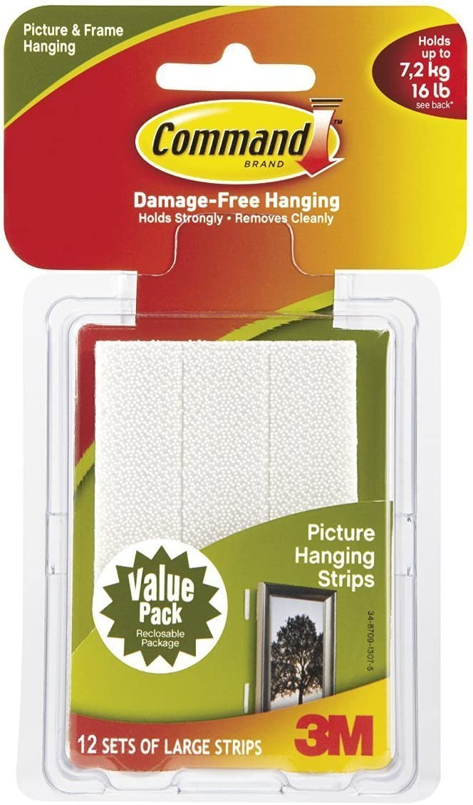 Command Large Lowest price challenge Picture-Hanging Strips 12-Strip White safety