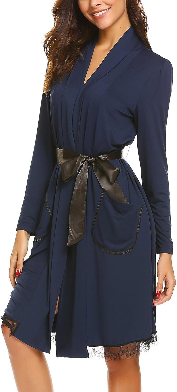 FANEO Unisex Bathrobe Long Sleeve Robe Lightweight Sleepwear With Belt