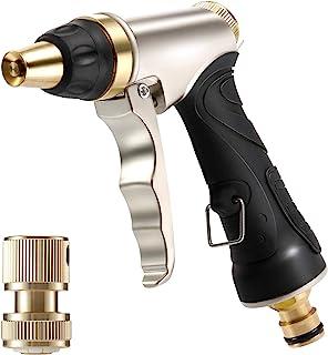 Hose Spray Gun, Garden Hose Nozzles & Spray Guns with Full Brass Nozzle, Non-Slip Grip, 4 Patterns Water Gun Sprinkler, Hi...