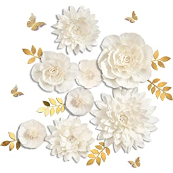 Letjolt White Paper Flowers Handcrafted Dahlia Birthday Party Thanksgiving Day Decorations Wedding Backdrop Wall Flowers Baby Shower Bridal Shower (White 8Pcs)