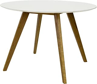 tenzo BESS Table de Salle à Manger Ronde, Plateau en Panneaux MDF ép. 25 mm laqués. Piètement Massif huilé, Blanc/Chêne, 7...