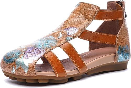 Sandales d'été Confortables à Semelles Semelles Souples pour Femmes Chaussures Plates Décontracté en Cuir véritable imprimées  première réponse