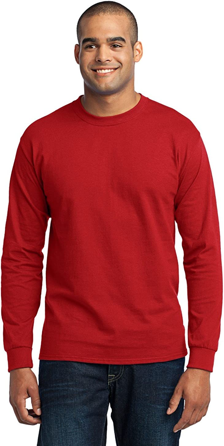 Port & Company Men's Tall Long Sleeve 50/50 Cotton/Poly T Shirt LT Red