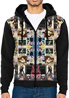 Madonna Collage Men's Long Sleeve Zip-up Hoodie with Pocket Fashion Fit Jacket Coat