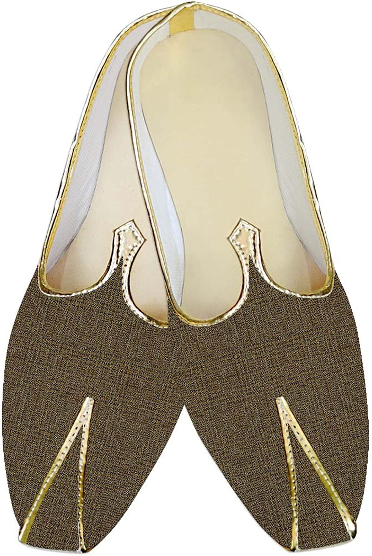 INMONARCH Mens Olive Drab Checks Jute Polyester Wedding shoes MJ015389