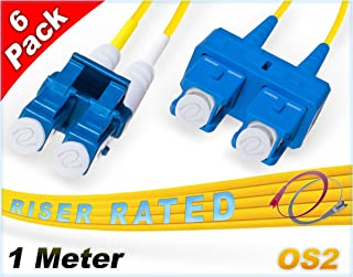 FiberCablesDirect 6Pk 1M OS2 LC SC Single Mode Fiber Patch Cables - 6 Pack | Duplex 9/125 LC to SC Singlemode Jumper Cord 1 Meter (3.28ft) | Pack Options: 2, 4, 6, 10, 12, 24 | pvc sm patch-cord lc-sc
