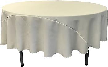 LA Linen 90-Inch Round Polyester Poplin Tablecloth, Ivory