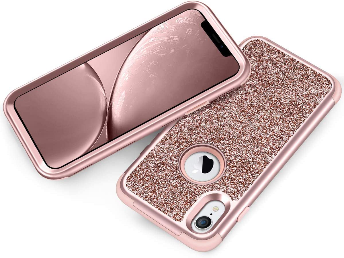 Vofolen Case for iPhone XR Case iPhone 10R Cover Bling Glitter Full-Body Protection Heavy Duty Hybrid Protective Hard Shell Silicone Rubber Armor with Front Frame Bumper for iPhone XR 10R (Rose Gold)