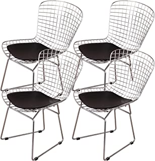Emorden Furniture Harry Bertoia Chromed Wire Frame Side Chair with Plastic Feet & PU Leather Cushion.(Black Pads, Set of 4)