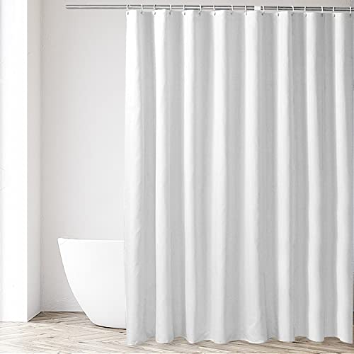Eforgift Contemporary Fabric Shower Curtain Non Plastic Liner White Standalone Water Resistant Bathroom Polyester