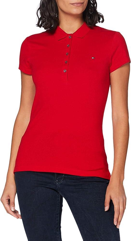 Tommy hilfiger polo , maglietta a maniche corte per donna , 96% cotone, 4% elastan 1M87650126